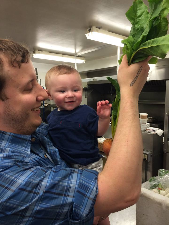 My amazing son and I checking out the morning's harvest