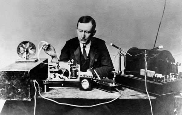 Guglielmo Marconi in 1901; public domain photo part of the LIFE Photo Archive