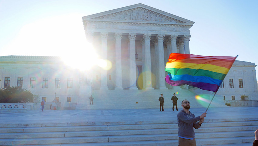 "Arguments at the United SArguments at the United States Supreme Court for Same-Sex Marriage on April 28, 2015; photo by Ted Eytan; CC BY-SA 2.0ref=""https://www.flickr.com/photos/taedc/17113823229"" target=""new"">; photo</a> by <a href=""https://www.flickr.com/photos/taedc/"" target=""new"">Ted Eytan</a>; <a href=""https://creativecommons.org/licenses/by-sa/2.0/"" target=""new"">CC BY-SA 2.0</a>"