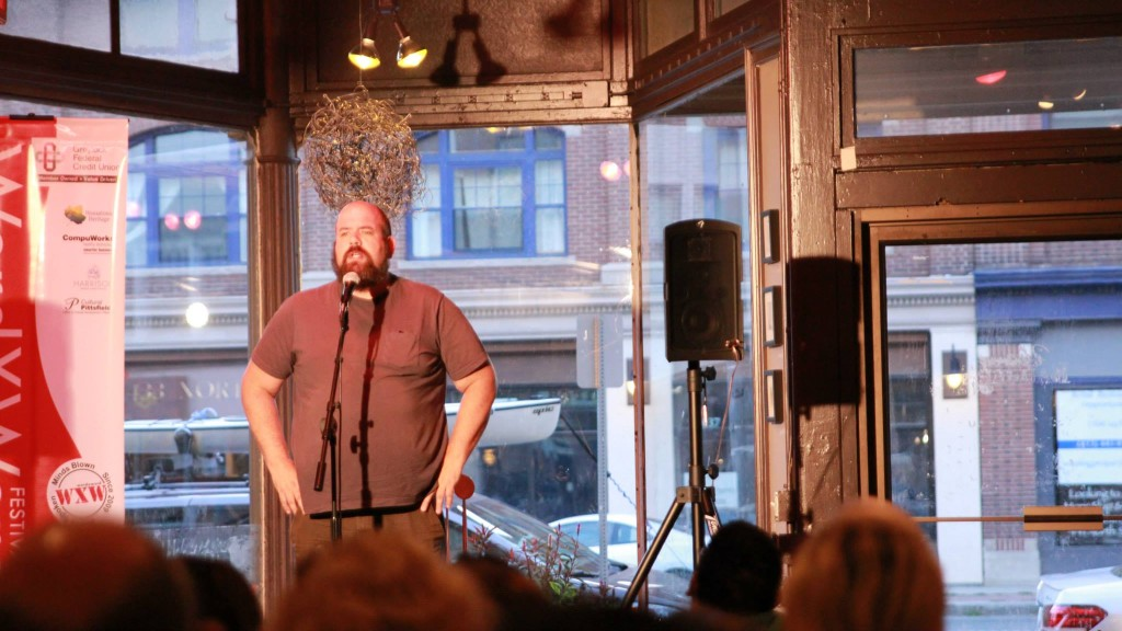 Curtis Asch in the Story Slam Semi-Finals at Dottie's Coffee Lounge in Pittsfield