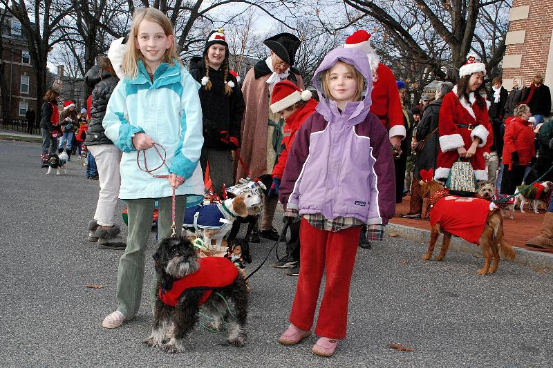 "Children participating in a past ""Reindog Parade"" during the Holiday Walk festivities; photo courtesy The Massachusetts Office of Travel & Tourism"