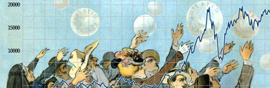Chasing Bubbles in the Stock Market; composite of public domain images