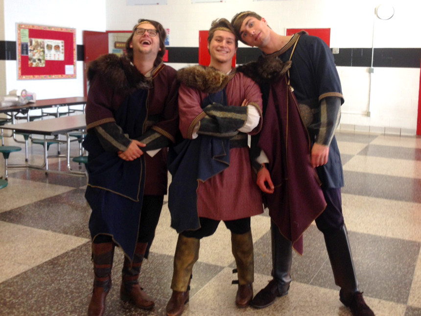"The three Thanes of Cawdor in Mt. Greylock Regional School's production of Shakespeare's ""Macbeth"" during this year's Fall Festival of Shakespeare; photo by Brittney Holland."