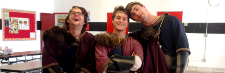 """The three Thanes of Cawdor in Mt. Greylock Regional School's production of Shakespeare's """"Macbeth"""" during this year's Fall Festival of Shakespeare; photo by Brittney Holland."""