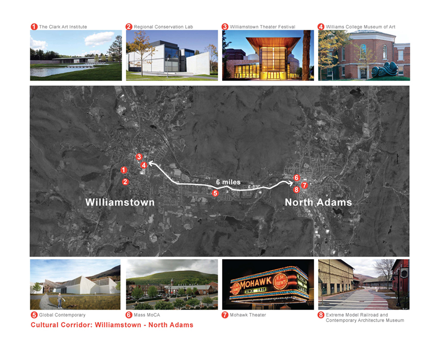 Proposed developments along the Greylock Cultural Corridor would balance out existing and planned cultural attractions in North Adams and Williamstown; submitted image.