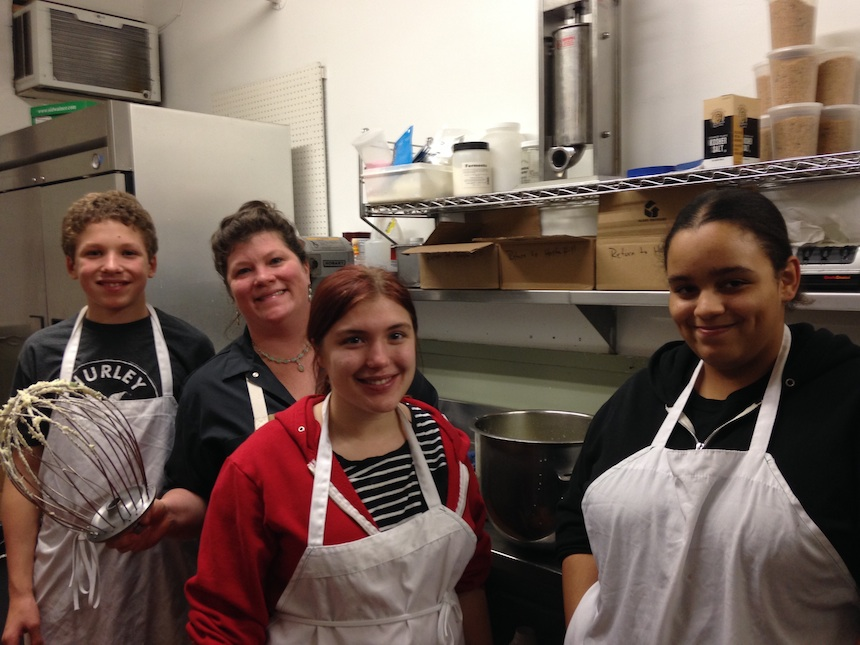Daire Rooney, executive chef of Allium Restaurant + Bar in Great Barrington, with participants in the 2014–2015 RSYP Culinary Apprenticeship program; submitted photo.