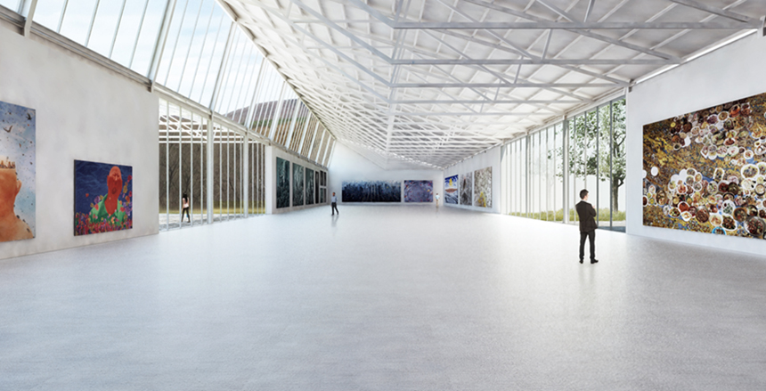 Artists rendering of the North Gallery of the Global Contemporary art museum, proposed to be sited at the Harriman-and-West Airfield; submitted image.