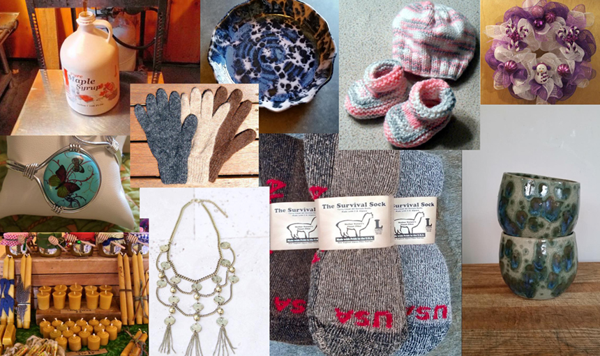 """Twenty vendors will turn out to offer their wares at the very first """"Craft Fair on the Hill"""" at Pine Cobble School in Williamstown, December 12; collage assembled from images courtesy Craft Fair on the Hill via Facebook."""