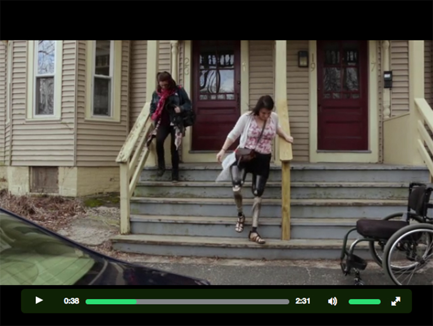 "For eight years, Clara Gardner (right) has been using socket-type prosthetic legs, which have changed surprisingly little in five centuries. Click this image to see the trailer for ""The Next Step,"" at the film's Kickstarter page , and to find out more about the procedure known as osseointegration that she hopes will return much of her mobility."