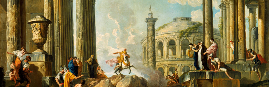 """The Death Leap of Marcus Curtius,"" by Giovanni Paolo Panini (1691 - 1765)"