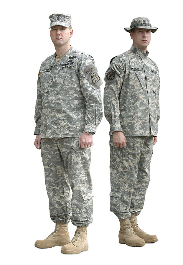 Two soldiers wearing the Army Combat Uniform in the Universal Camouflage Pattern (U.S. Army)