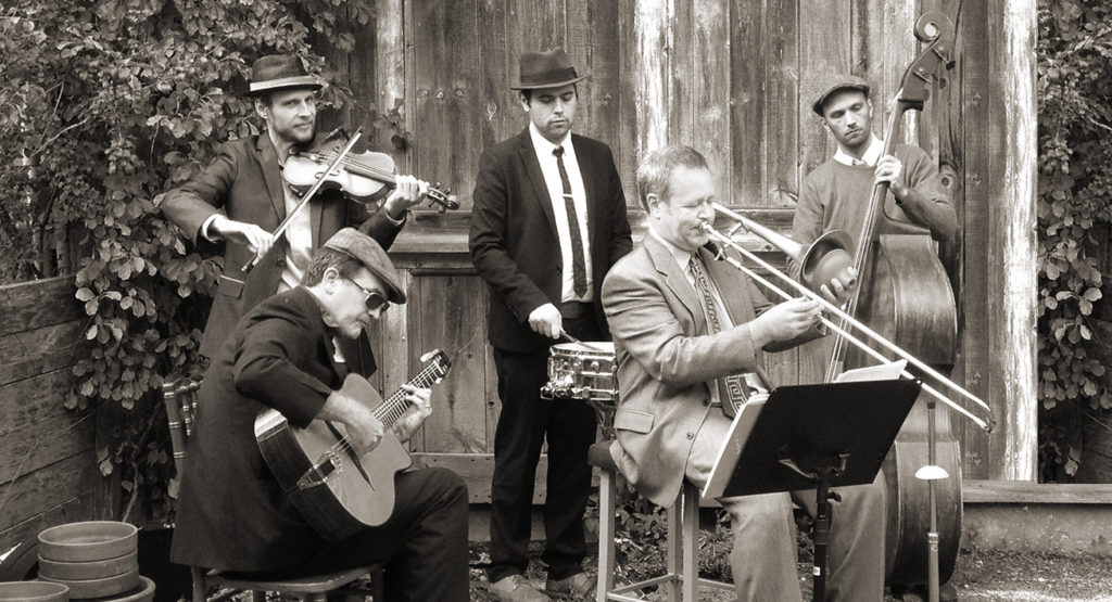The Lucky 5 (pictured) is a hard-swinging jazz band that blends swing and gypsy jazz (submitted photo).
