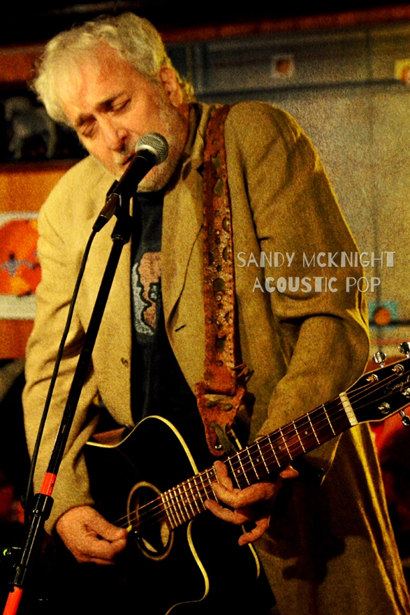Sandy McKnight, a co-founder of BOOM, playing an acoustic set At the Dream Away Lodge in Becket as part of his solo project (submitted photo).