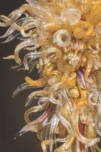 Dale Chihuly, Sunrise Topaz Chandelier (detail), 2016, 14 x 6 x 5½'. At Schantz Galleries, Stockbridge, July 8 through Aug. 28.