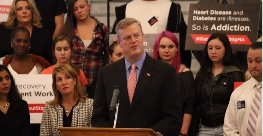 Massachusetts Governor Charlie Baker announcing the #StateWithoutStigMA campaign, one outcome of the Governor's Opioid Working Group, Wednesday, November 4th, 2015 (photo courtesy Office of the Governor, via YouTube).