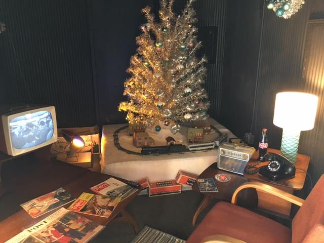 Inside the Hoosac Valley Train Ride ticket, museum, and gift car, a living room has been set up to carry visitors back to Christmas circa 1955 (photo courtesy BSRW).