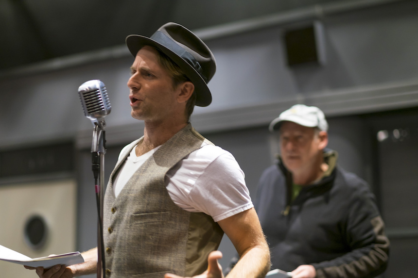 Ryan Winkles and Jonathan Croy rehearse for 'It's A Wonderful Life: A Live Radio Play' at Shakespeare & Company (photo by Ava G. Lindenmaier).