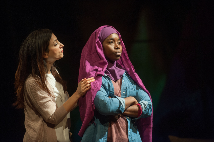 "Hend Ayoub and Donnetta Lavinia Grays in ""Veils, written by Tom Coash and directed by Leah C. Gardiner,"" at Barrington Stage Company, October 2015; photo by Kevin Sprague"