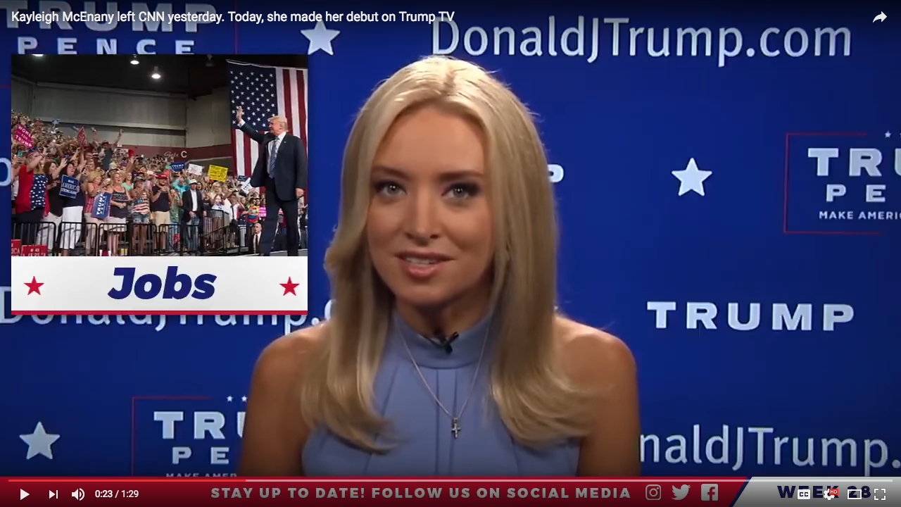 """Kayleigh McEnany, Republican National Committee national spokesperson, debuted August 6 as the host of the web series """"News of the Week, on """"the official Facebook page for Donald J. Trump,"""" seemingly unable to decide between a sort of Veronica Lake or Lauren Bacall. The overall effect was pretty solidly Sharon Stone ca. 1992. Image via video capture of Facebook webcast, (possibly) Donald J. Trump for President, Inc."""