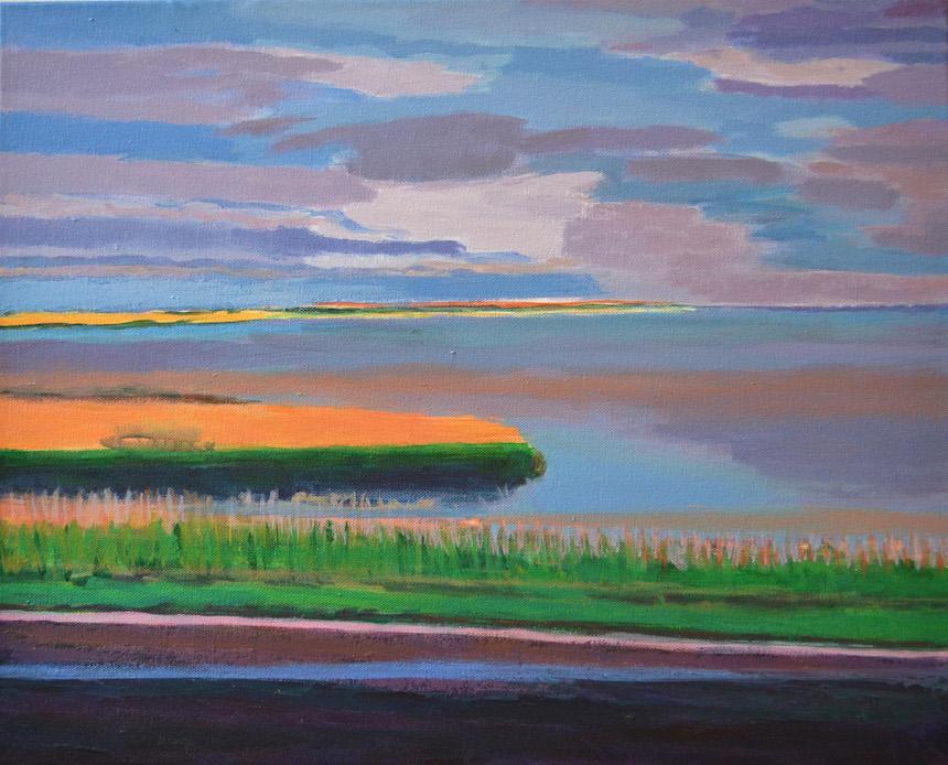 """""""Orange Marsh,"""" by Sarah Sutro; acrylic."""