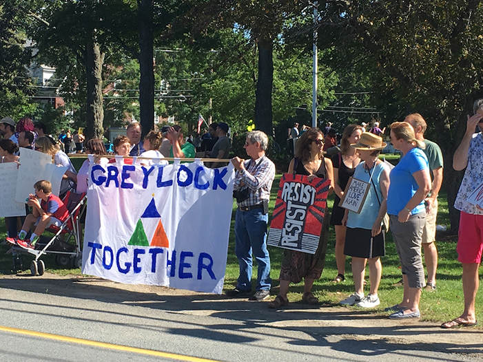 Hundreds answered the call of Greylock Together to Stand Against Hate at Field Park, Williamstown the day after three died and 19 were wounded at a demonstration of white nationalists in Charlottesvill, VA; photo by Jason Velázquez