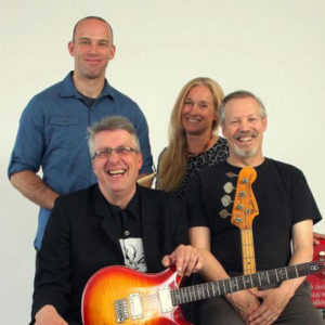 "Bees Deluxe Front: Conrad Warren, Allyn ""Aldo"" Dorr Back: Patrick Sanders, Carol Band photo courtesy Carol Band via Patch"