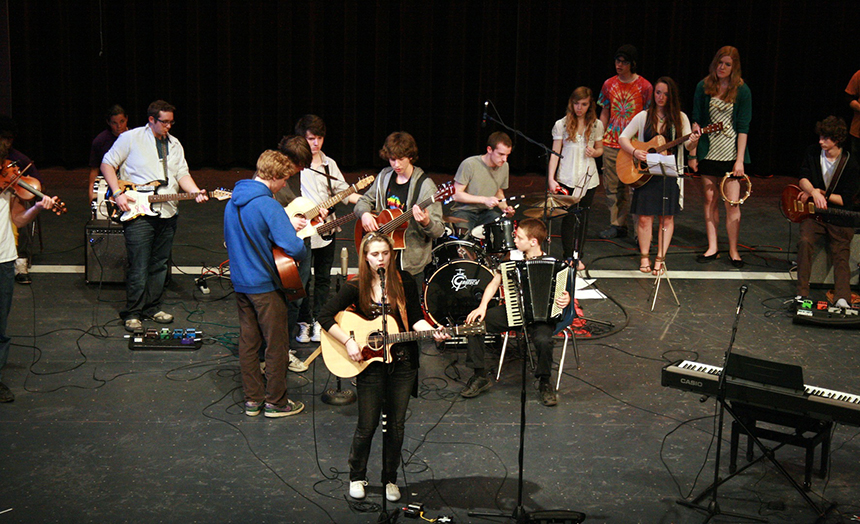 Students perform at The Duffin Theater at Lenox Memorial Middle/High School. Youth interested in performing for Amplify must audition online at www.musicincommon.org by May 31; submitted photo.
