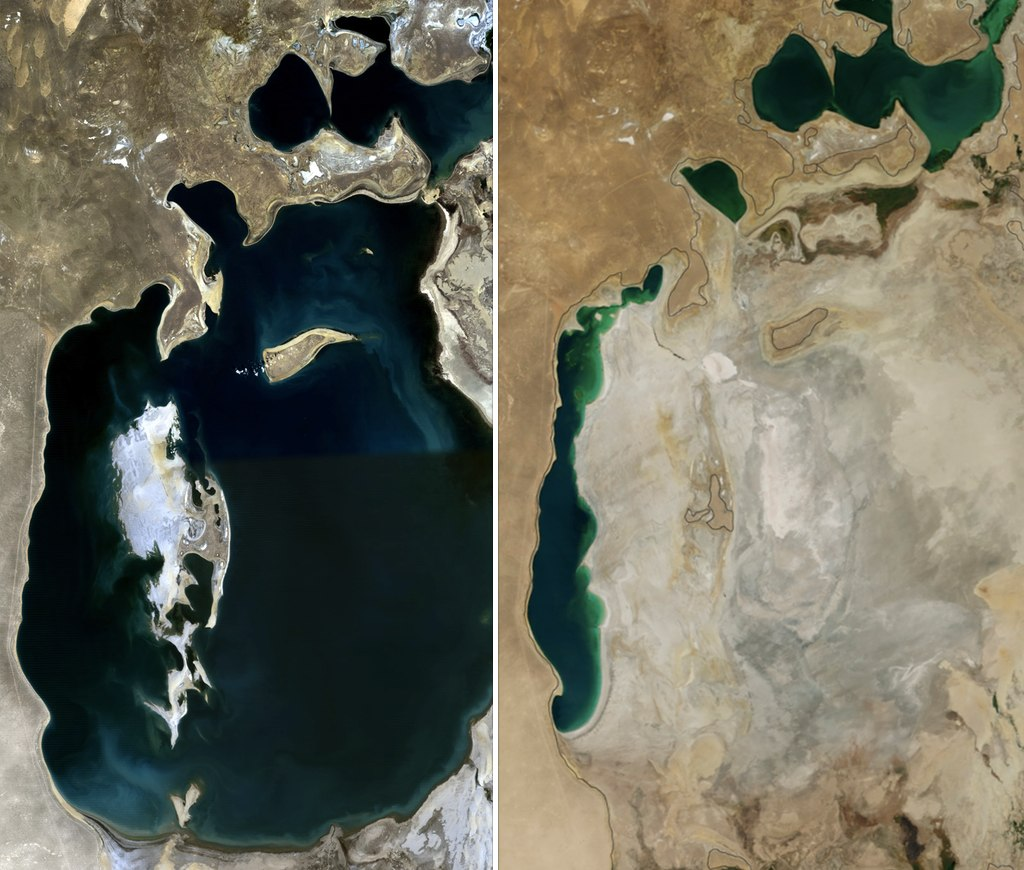The Aral Sea in 1989 (left) and 2014 (right); NASA photo, Collage by Producercunningham.