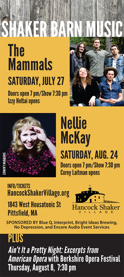 graphic promoting the Shaker Barn Music roots music performance series