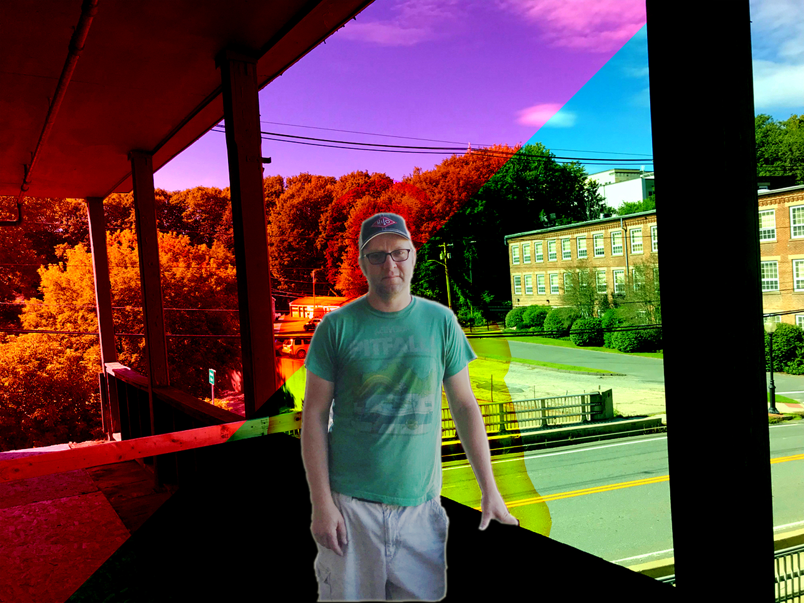 Brian Miksic, standing on the balcony off the Green Room at HiLo North Adams, overlooking Union Street; photo and image effects by Jason Velázquez.