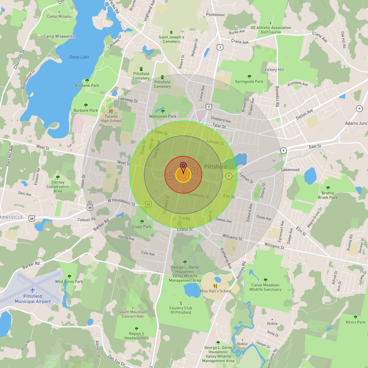 The NUKEMAP, by Alex Wellerstein, projecting the fireball radius, thermal radiation radius, and consecutive intensities of blast damage radii caused by a 6 kiloton nuclear warhead hitting Pittsfield, Mass.